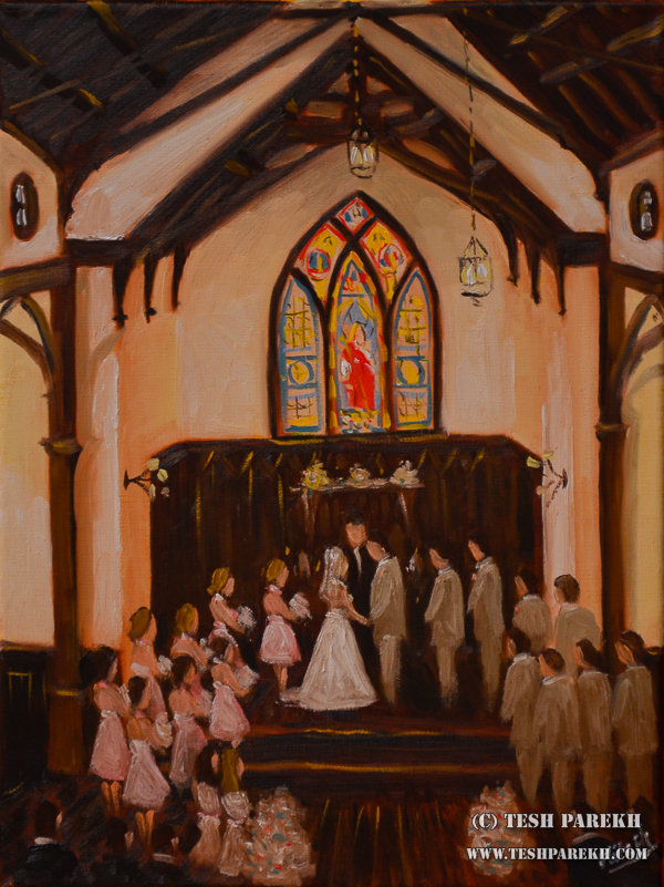 Ashley & Chris. Live Wedding Painting at the All Saints Chapel and the Stockroom in Raleigh NC. 16x12. Oil on linen.