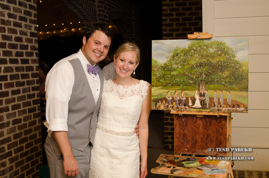 Tyler and Allie with live painting of their ceremony.