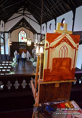Live Wedding easel set up in chapel