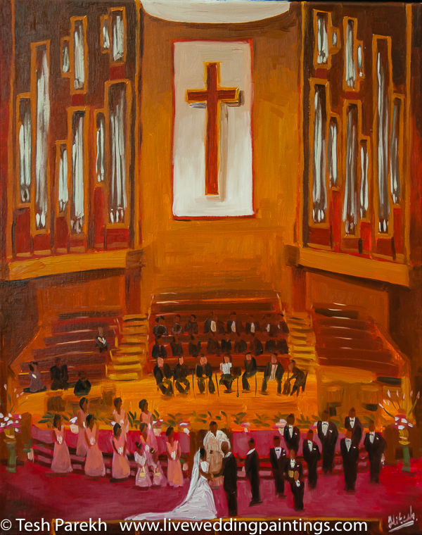 LIVE Wedding Painting by Tesh Parekh - Artist - Oil Painting