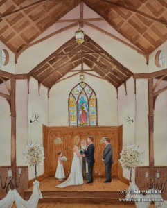 All Saints Chapel Ceremony – Watercolor Wedding painting { Kathe + Todd }