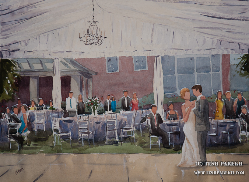 Live wedding painting of Lauren and Brad's first dance. 18x24. Watercolor. Berry Hill Resort. South Boston VA.