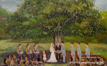 Live wedding painting at The Oaks at Salem in Apex North Carolina by Raleigh Artist